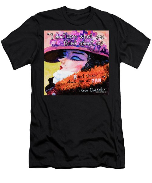 Men's T-Shirt (Slim Fit) featuring the painting Coco Chanel by Igor Postash
