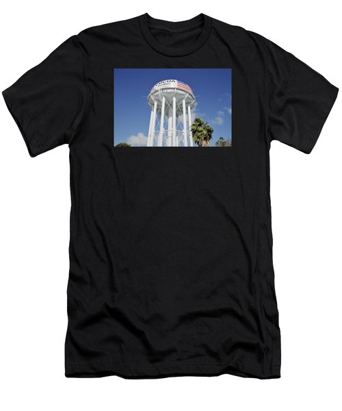 Cocoa Water Tower With American Flag Men's T-Shirt (Athletic Fit)