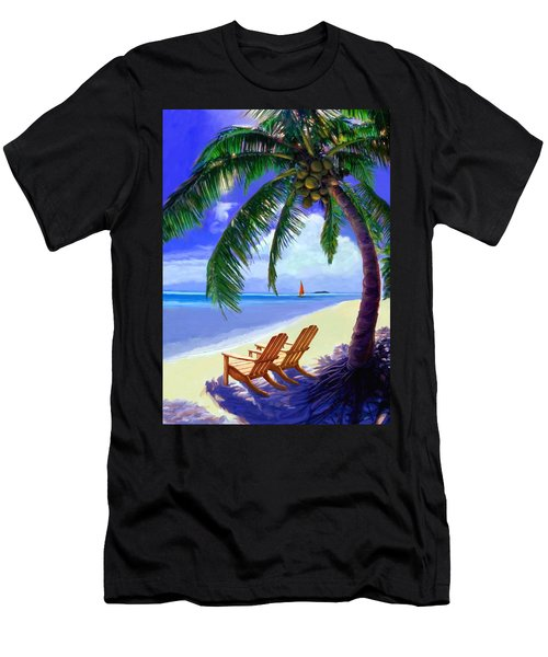 Coconut Palm Men's T-Shirt (Slim Fit) by David  Van Hulst