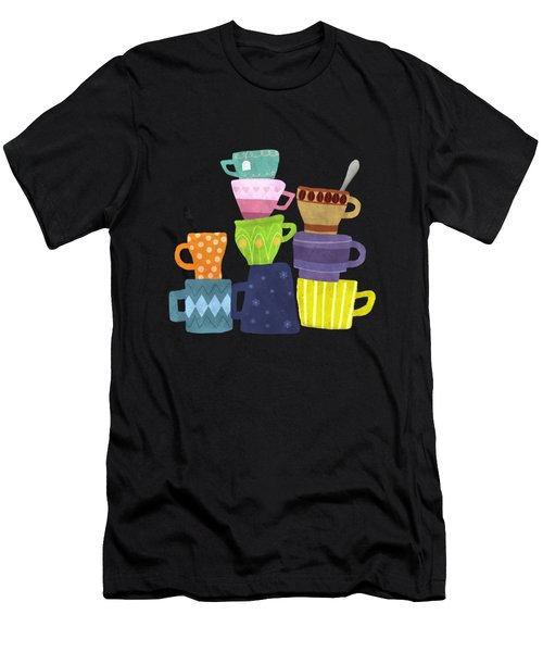 Coffee And Tea Cups And Mugs Stacked High  Men's T-Shirt (Athletic Fit)