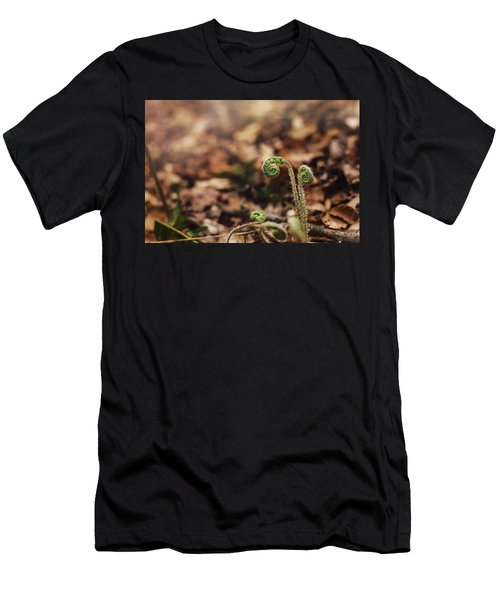 Coiled Fern Among Leaves On Forest Floor Men's T-Shirt (Athletic Fit)