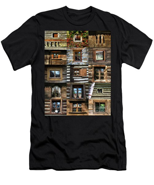 Collage From Handmade Traditional Wooden  Windows In Village Museum Bucharest Men's T-Shirt (Athletic Fit)