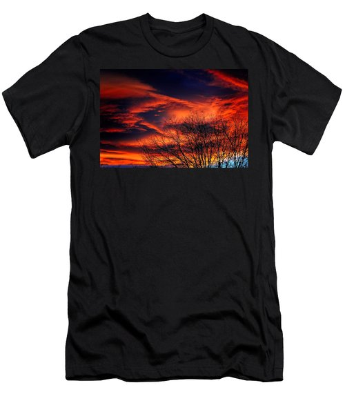 Men's T-Shirt (Athletic Fit) featuring the photograph Colorado Fire In The Sky by Jon Burch Photography