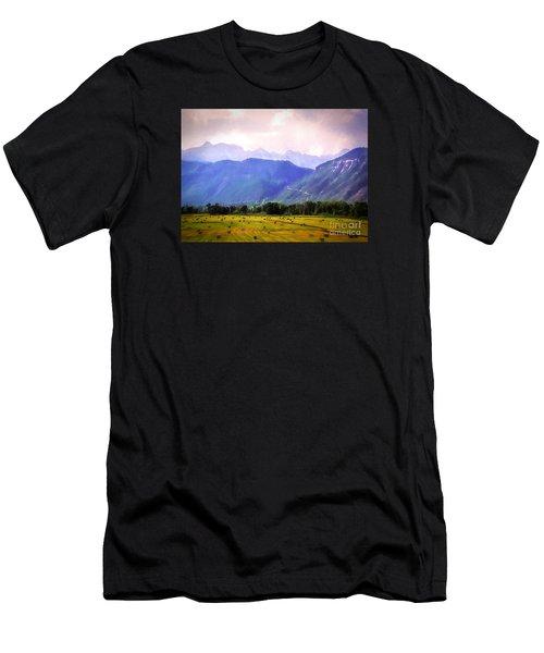 Colorado Harvest Watercolor  Men's T-Shirt (Athletic Fit)