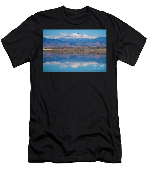 Colorado Longs Peak Circling Clouds Reflection Men's T-Shirt (Athletic Fit)