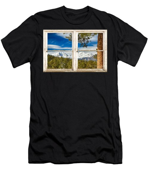 Colorado Rocky Mountain Rustic Window View Men's T-Shirt (Athletic Fit)