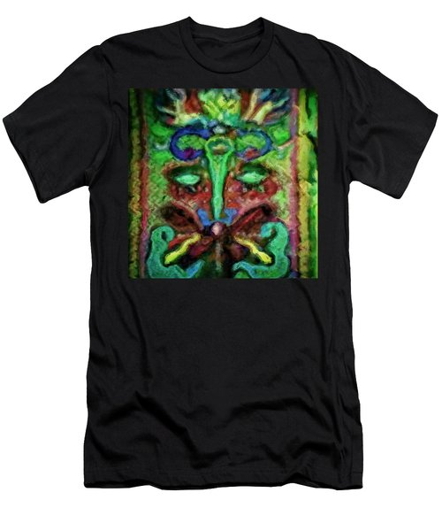 Colorful Abstract Painting Swirls And Dabs And Dots With Hidden Meaning And Secret Stories Of Birds  Men's T-Shirt (Athletic Fit)