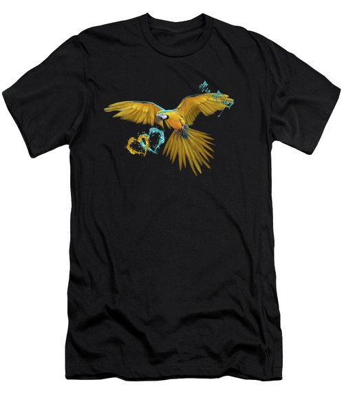 Colorful Blue And Yellow Macaw Men's T-Shirt (Athletic Fit)
