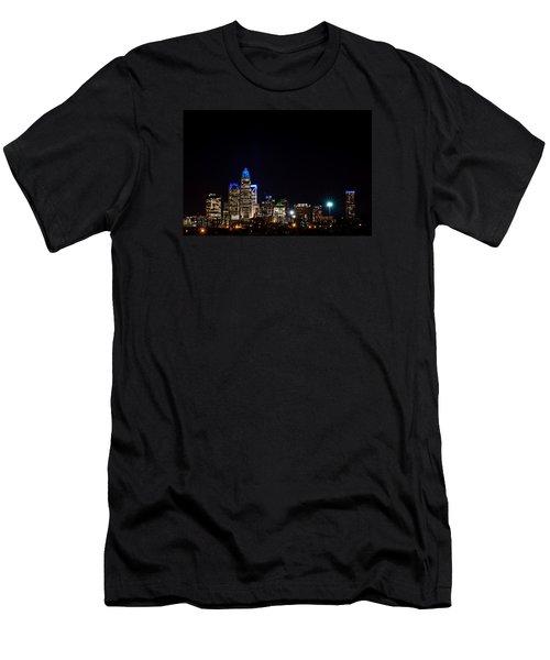 Colorful Charlotte, North Carolina Skyline Men's T-Shirt (Athletic Fit)