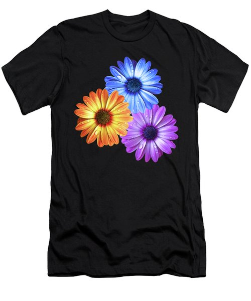 Colorful Daisies With Water Drops On Black Men's T-Shirt (Athletic Fit)