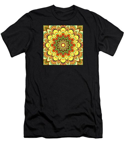 Colorful Flower Striped Mandala Men's T-Shirt (Athletic Fit)
