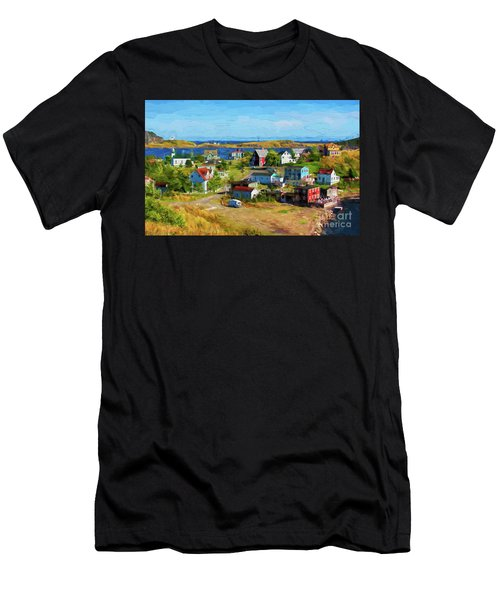 Colorful Homes In Trinity, Newfoundland - Painterly Men's T-Shirt (Athletic Fit)