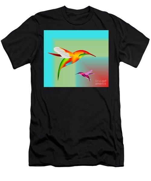 Colorful Hummingbirds Men's T-Shirt (Athletic Fit)