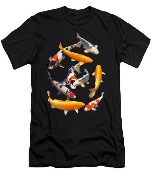 Colorful Japanese Koi Vertical Men's T-Shirt (Slim Fit)