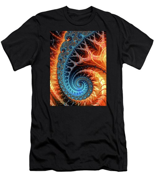 Colorful Luxe Fractal Spiral Turquoise Brown Orange Men's T-Shirt (Slim Fit) by Matthias Hauser