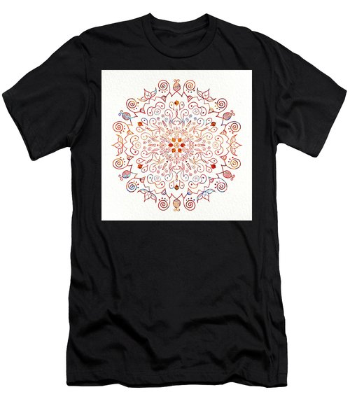 Colorful Mandala On Watercolor Paper Men's T-Shirt (Athletic Fit)