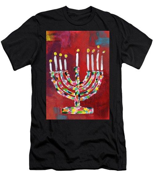 Colorful Menorah- Art By Linda Woods Men's T-Shirt (Athletic Fit)
