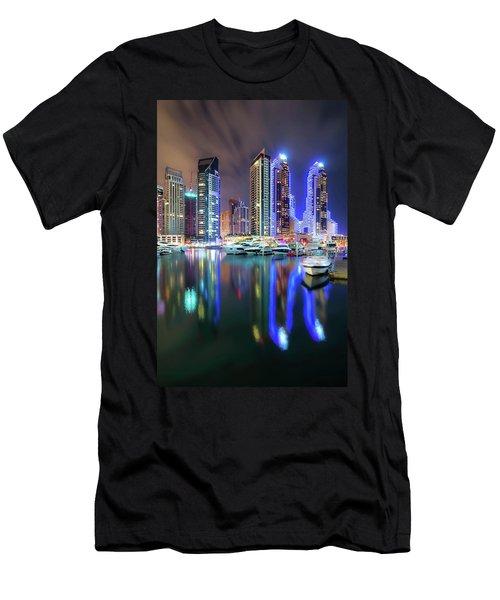 Colorful Night Dubai Marina Skyline, Dubai, United Arab Emirates Men's T-Shirt (Athletic Fit)