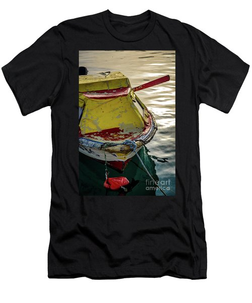 Colorful Old Red And Yellow Boat During Golden Hour In Croatia Men's T-Shirt (Athletic Fit)