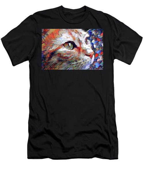 Colorful Orange Cat Art Men's T-Shirt (Athletic Fit)