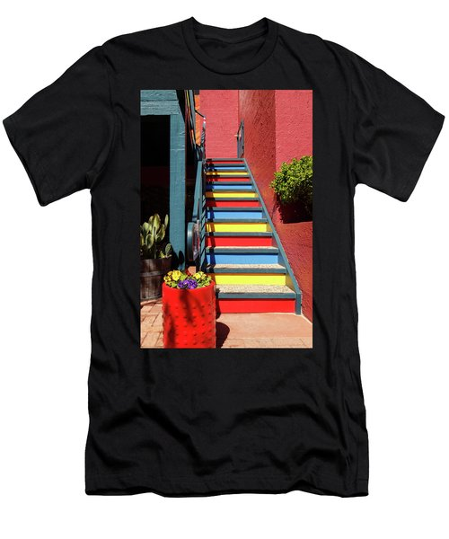 Colorful Stairs Men's T-Shirt (Slim Fit) by James Eddy