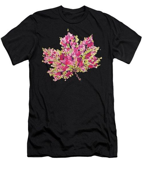 Colorful Watercolor Autumn Leaf Men's T-Shirt (Athletic Fit)