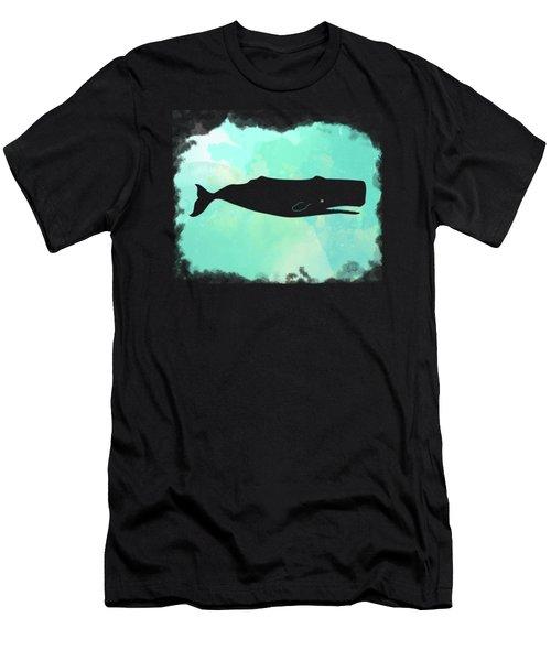Colorful Watercolor Sperm Whale Sea Life Coastal Art Men's T-Shirt (Athletic Fit)