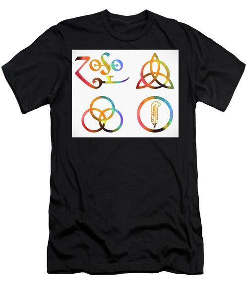Colorful Zoso Symbols Men's T-Shirt (Athletic Fit)