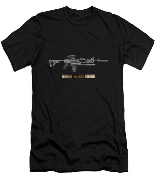 Colt  M 4 A 1  S O P M O D Carbine With 5.56 N A T O Rounds On Black Velvet Men's T-Shirt (Athletic Fit)