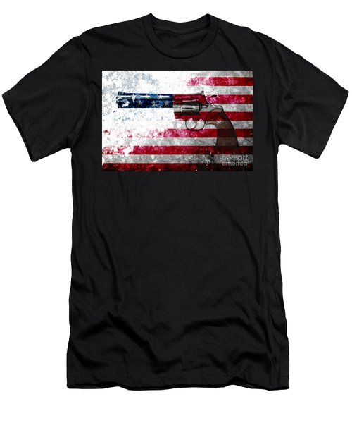 Colt Python 357 Mag On American Flag Men's T-Shirt (Athletic Fit)