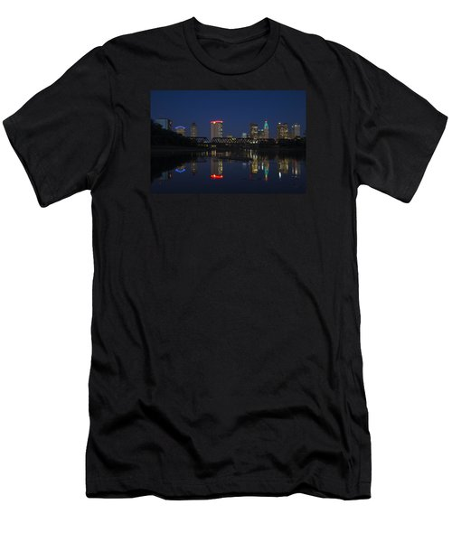 Men's T-Shirt (Slim Fit) featuring the photograph Columbus Night Reflection by Alan Raasch