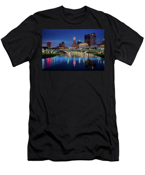Men's T-Shirt (Athletic Fit) featuring the photograph Columbus Ohio Skyline At Night by Adam Romanowicz