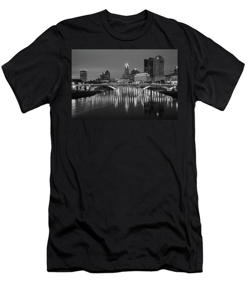 Men's T-Shirt (Athletic Fit) featuring the photograph Columbus Ohio Skyline At Night Black And White by Adam Romanowicz