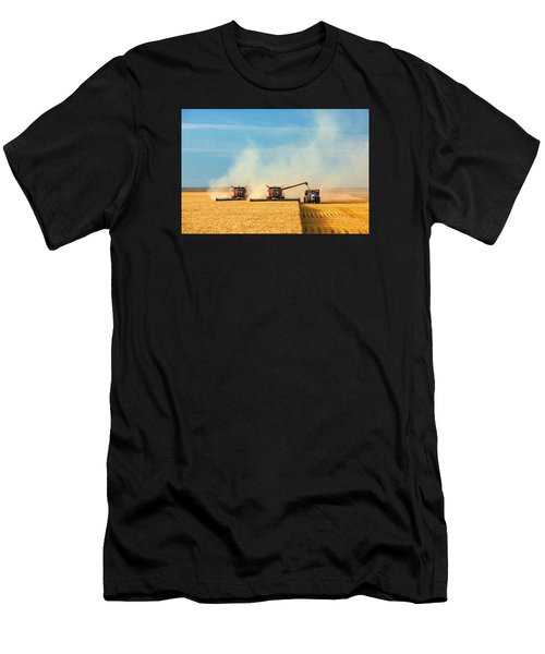 Men's T-Shirt (Athletic Fit) featuring the photograph Combines And Tractor Working Together by Todd Klassy