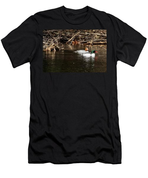 Men's T-Shirt (Athletic Fit) featuring the photograph Common Mergansers by Betty Pauwels
