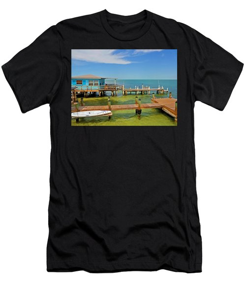Conch Key Blue Cottage 3 Men's T-Shirt (Athletic Fit)