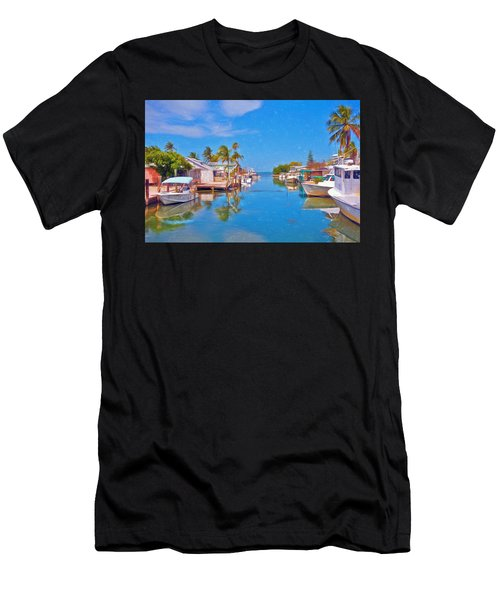 Conch Key Waterfront Living 3 Men's T-Shirt (Athletic Fit)