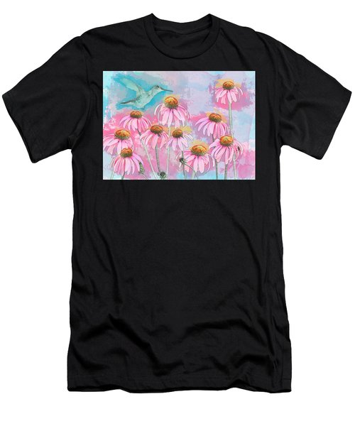 Coneflower Hummingbird Watercolor Men's T-Shirt (Athletic Fit)