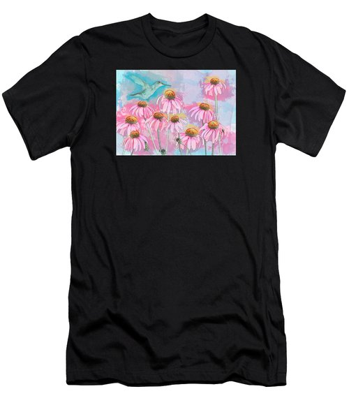 Men's T-Shirt (Athletic Fit) featuring the photograph Coneflower Hummingbird Watercolor by Patti Deters