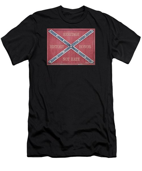 Confederate Flag On Wooden Door Men's T-Shirt (Athletic Fit)