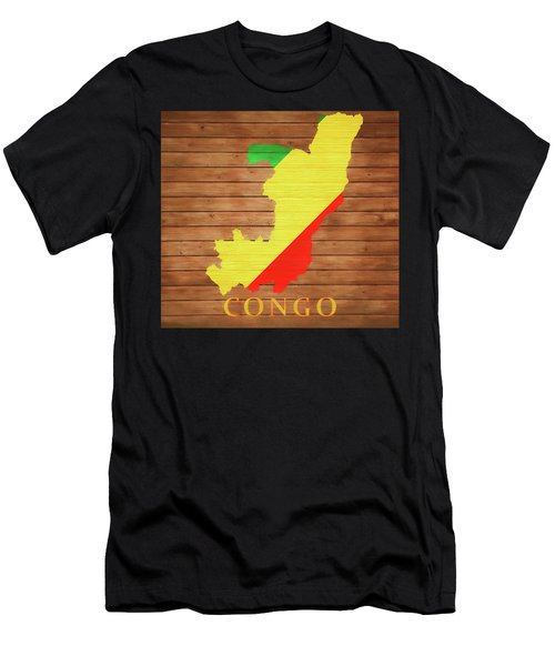 Congo Rustic Map On Wood Men's T-Shirt (Athletic Fit)