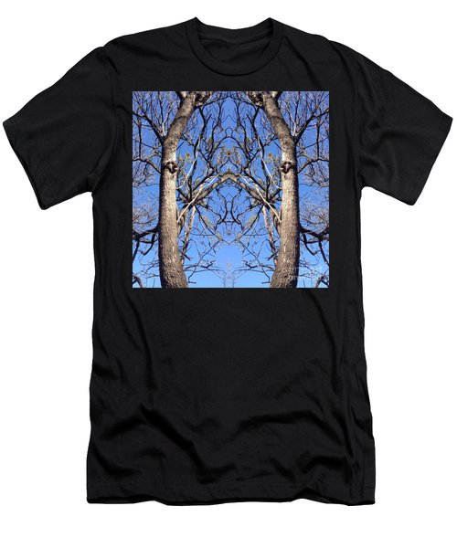 Men's T-Shirt (Slim Fit) featuring the photograph Conjoined Tree Collage by Nora Boghossian