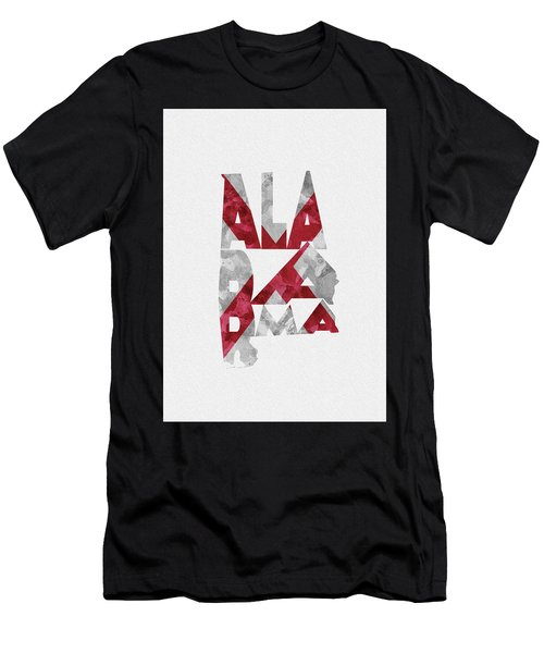 Alabama Typographic Map Flag Men's T-Shirt (Athletic Fit)