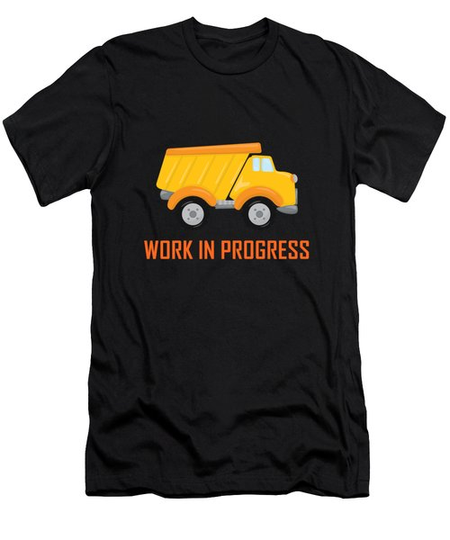 Construction Zone - Dump Truck Work In Progress Gifts - Yellow Background Men's T-Shirt (Athletic Fit)