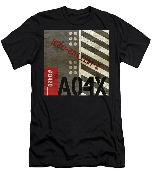 Contemporary Abstract Industrial Art - Distressed Metal - Black And Grey Stripes Men's T-Shirt (Athletic Fit)