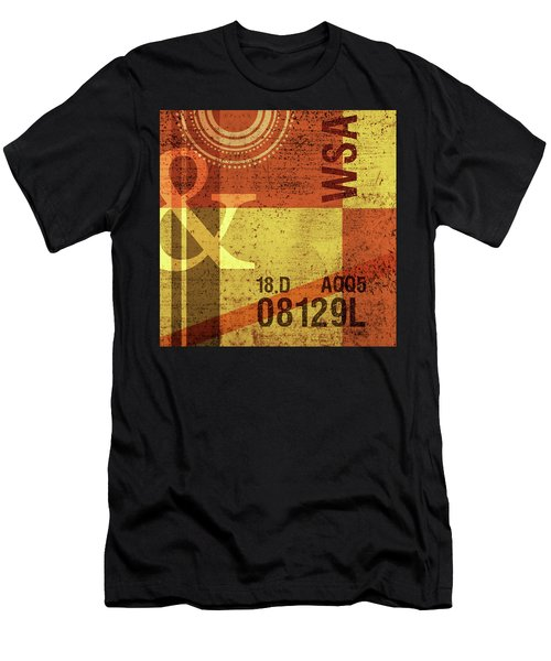Contemporary Abstract Industrial Art - Distressed Metal - Olive Yellow And Orange Men's T-Shirt (Athletic Fit)