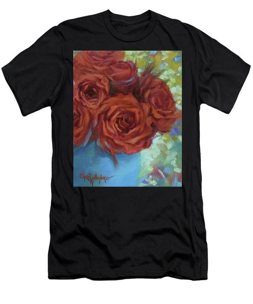 Contemporary Red Roses With Confetti Background Men's T-Shirt (Athletic Fit)