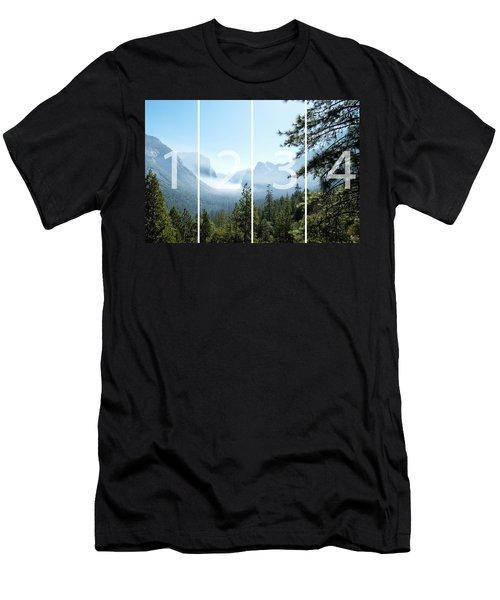 Controlled Burn Of Yosemite Panoramic Map Men's T-Shirt (Slim Fit) by Michael Bessler