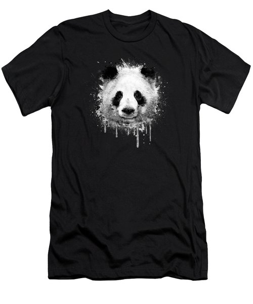 Cool Abstract Graffiti Watercolor Panda Portrait In Black And White  Men's T-Shirt (Athletic Fit)