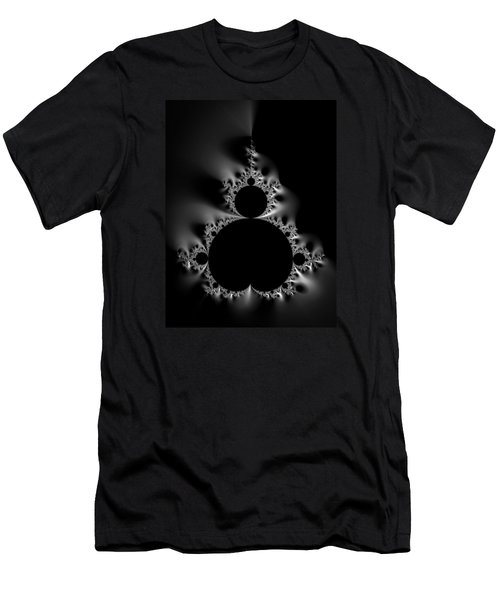 Cool Black And White Mandelbrot Set Men's T-Shirt (Athletic Fit)